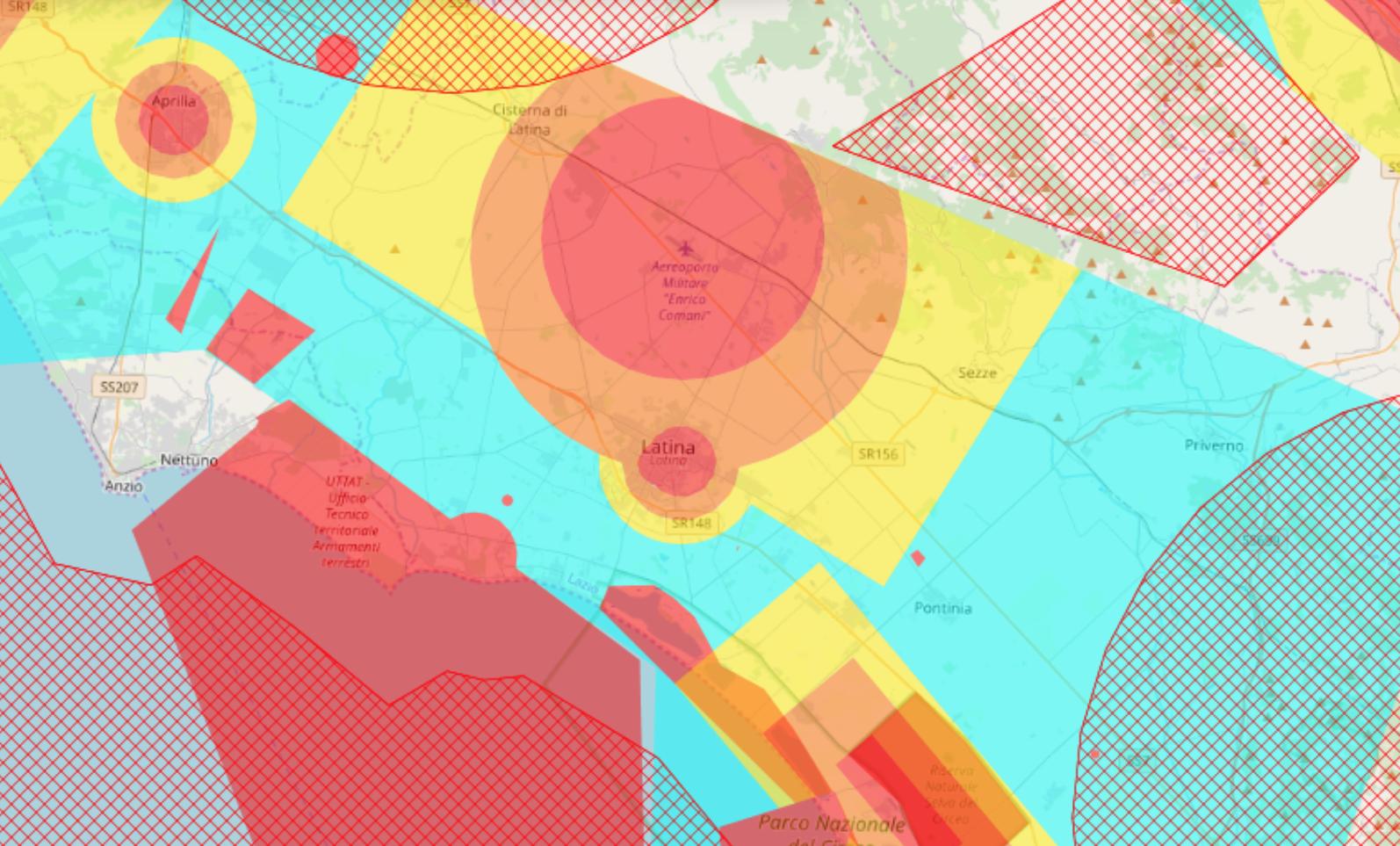 mappa con no fly zone droni comune di latina
