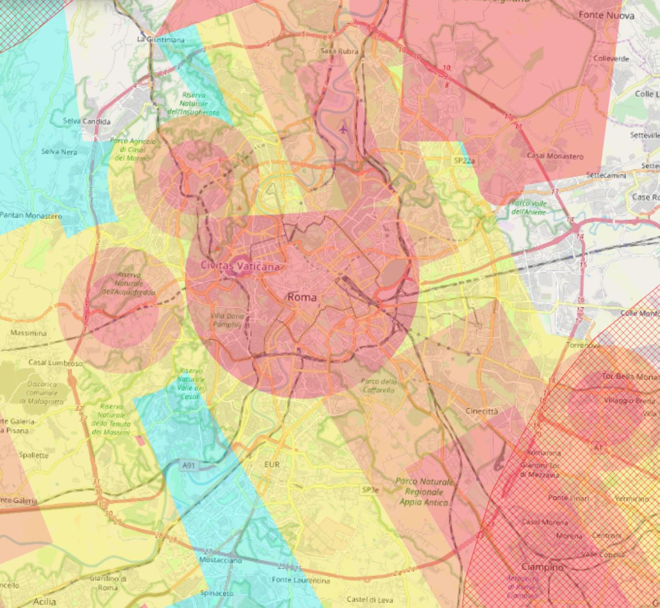 Mappa del comune di Roma che mostra le limitazioni normative al volo dei droni